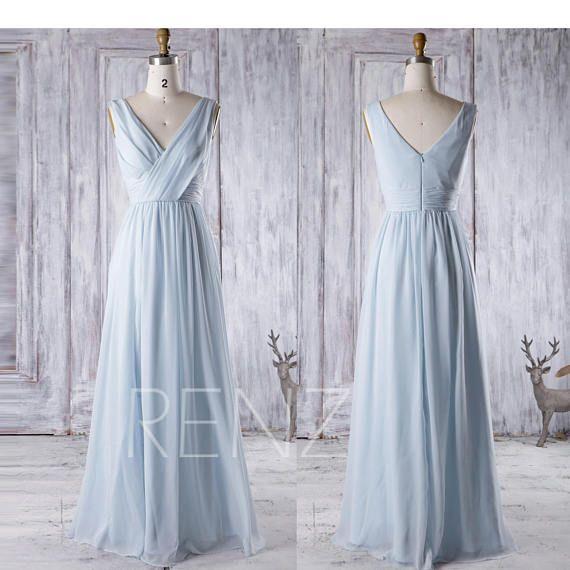 Bridesmaid Dress Light Blue Chiffon Dress Wedding Dress Ruched V Neck Party Dress Sleeveless Evening Dress A Line Maxi Dress with Slit(J025)