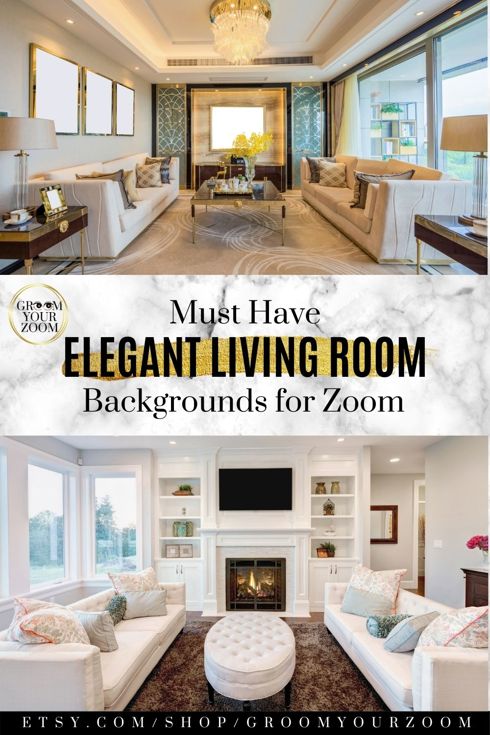 Elegant Living Room Zoom Background 4 Virtual Backgrounds For Video Call Home Living Stock Photo Digital Download Elegant Living Room Elegant Living Living Room Background