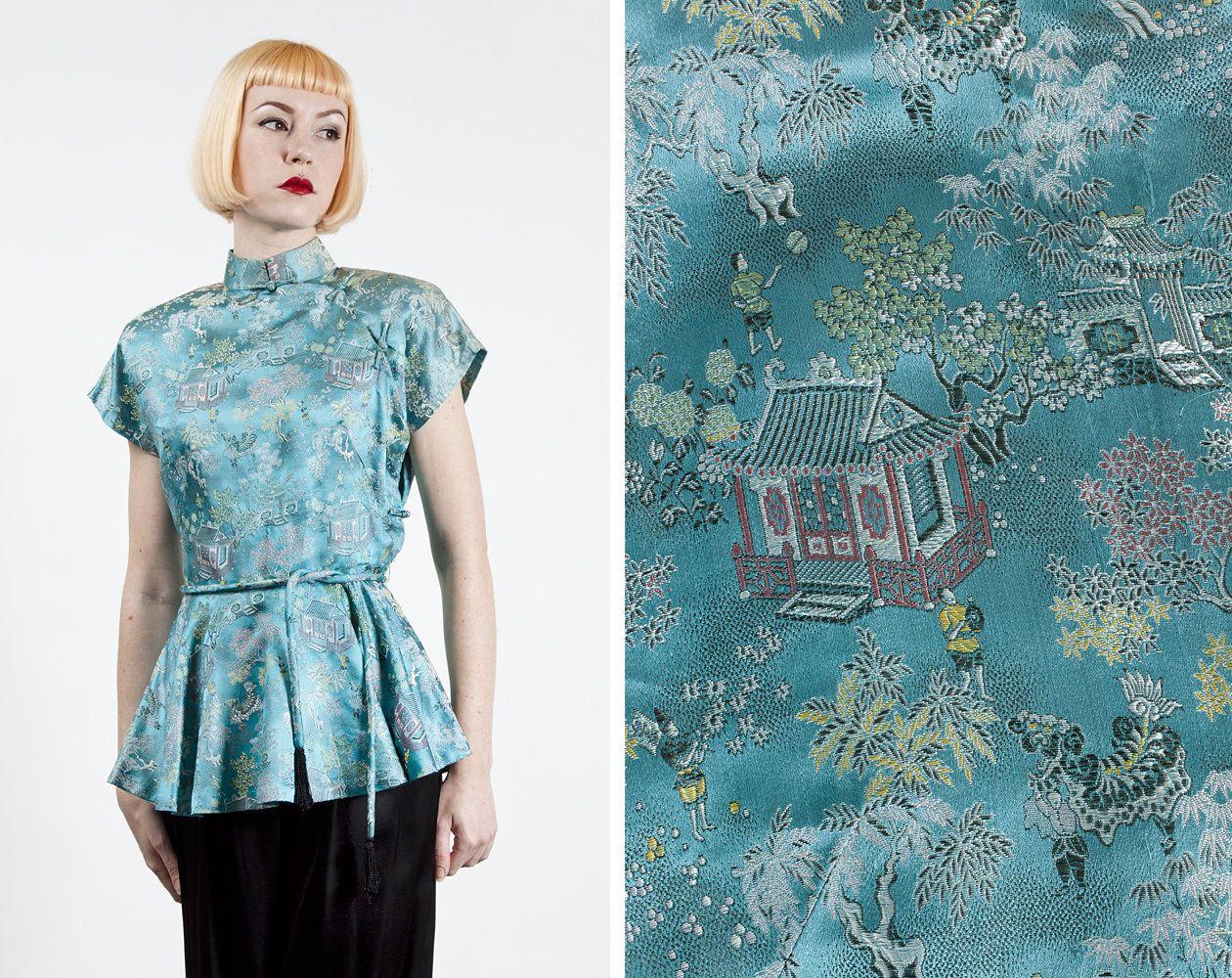 Jahrgang der 1950er Jahre Aqua Blau Brokat Chinesisch /   vintage ...