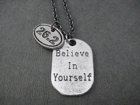 BELIEVE IN YOURSELF 26.2 Marathon Pewter Pendant by TheRunHome, $20.50