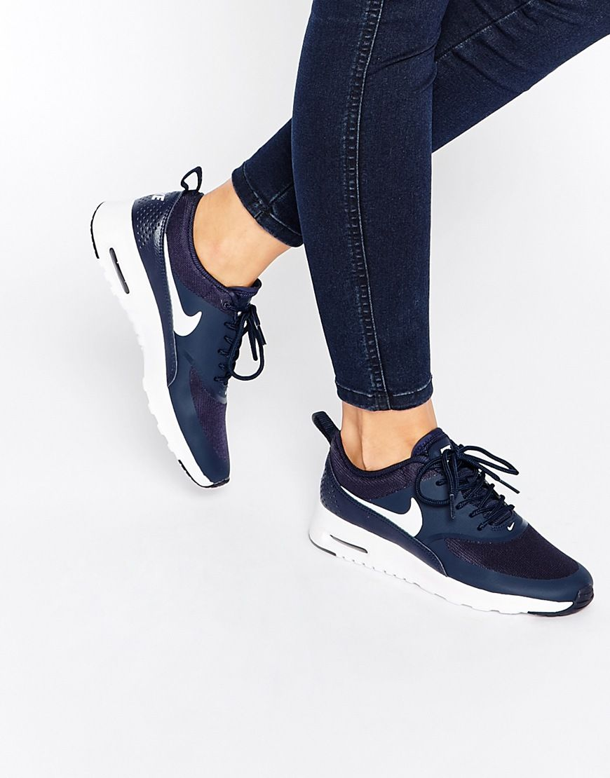 premium selection 874ed 6ba4c Image 1 of Nike Air Max Thea Navy Trainers