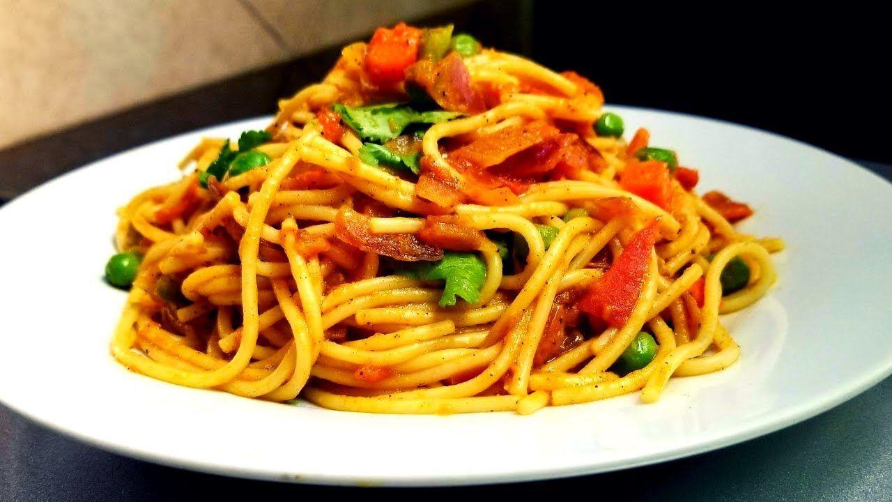 Indian style spaghetti spicy veg spaghetti vegetable