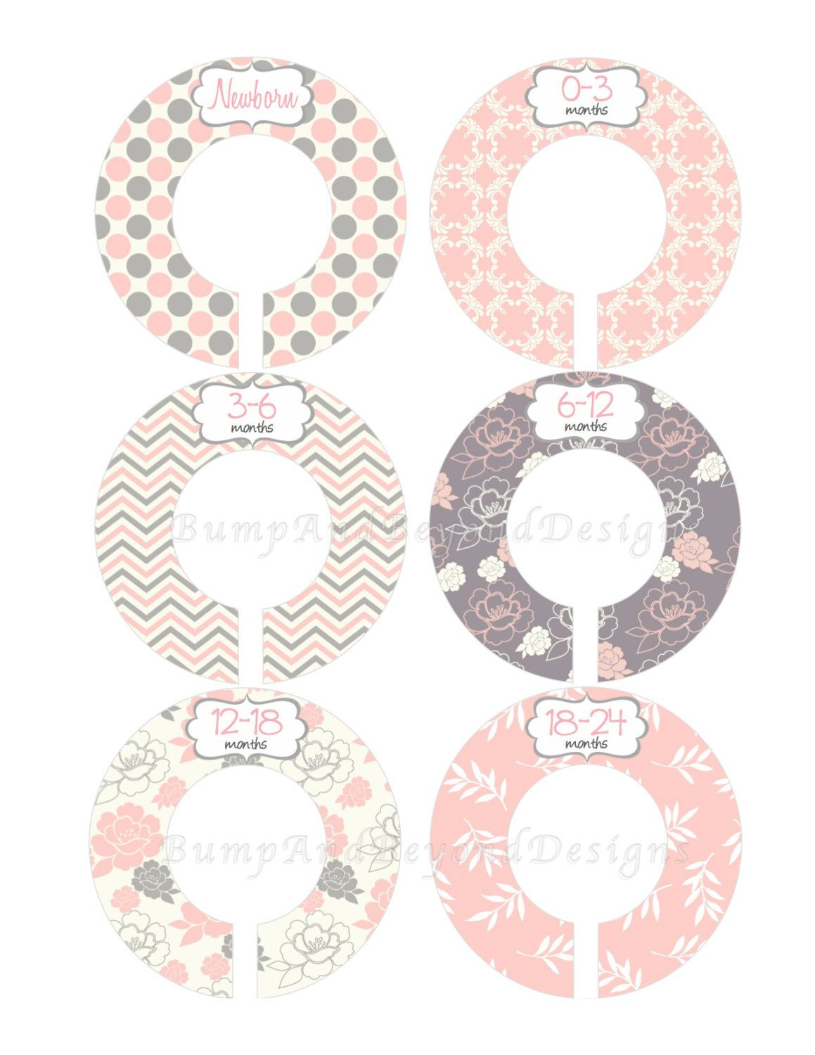 Custom Baby Closet Dividers Girl Pink Grey Floral Nursery Shower Gift Clothes