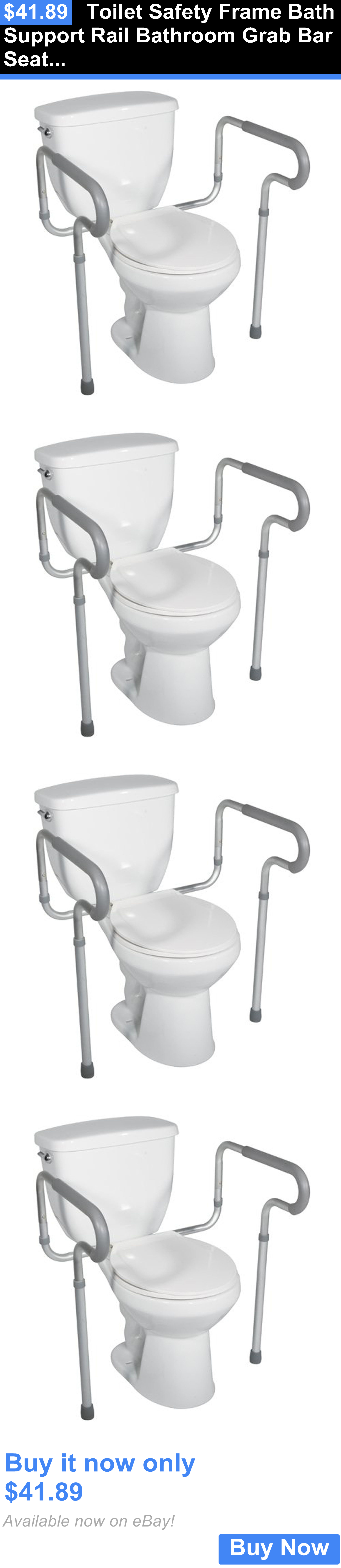 Handles and Rails: Toilet Safety Frame Bath Support Rail Bathroom ...