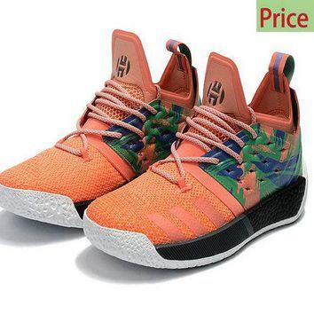 0f19bc93eae814 2018 Real Adidas Harden Vol 2 California Dreamin Melon Orange Black White  James Men Basketball AH2219 sneaker