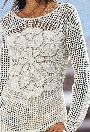 crochelinhasagulhas: Blusa branca de crochê com manga longa