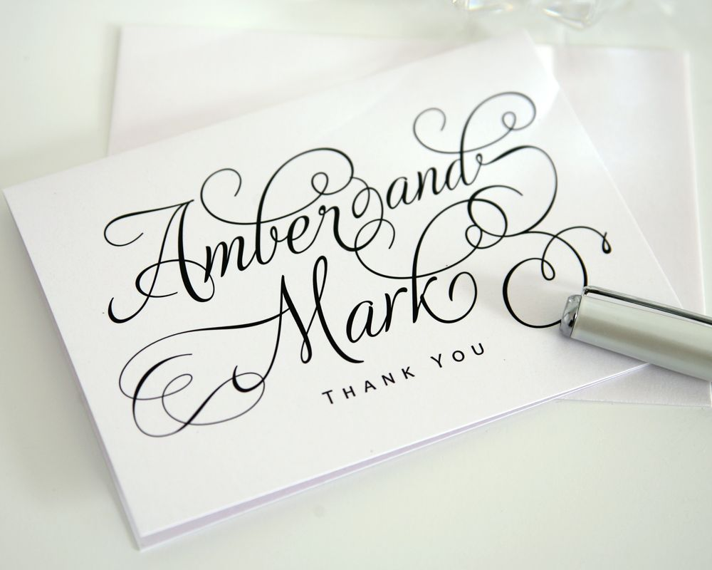 charming script thank you cards  wedding thank you cards