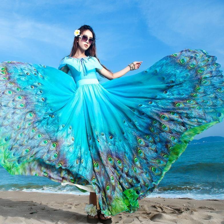 2017 Fashion Princess New Women S Bohemian Pea Tail Hawaiian V Neck Long Beach Dress