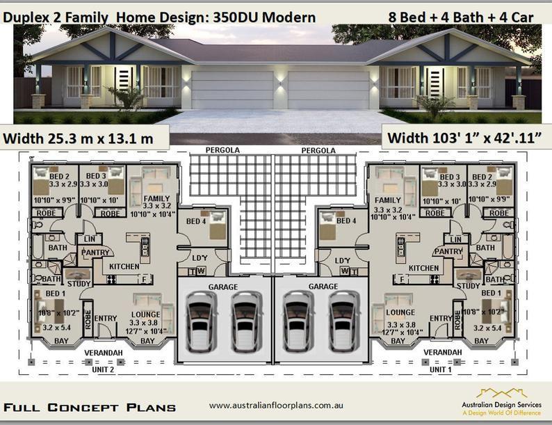 2 Family Duplex Plans 8 Bed Duplex Design Modern Duplex Etsy Duplex Design Duplex Plans House Plans For Sale