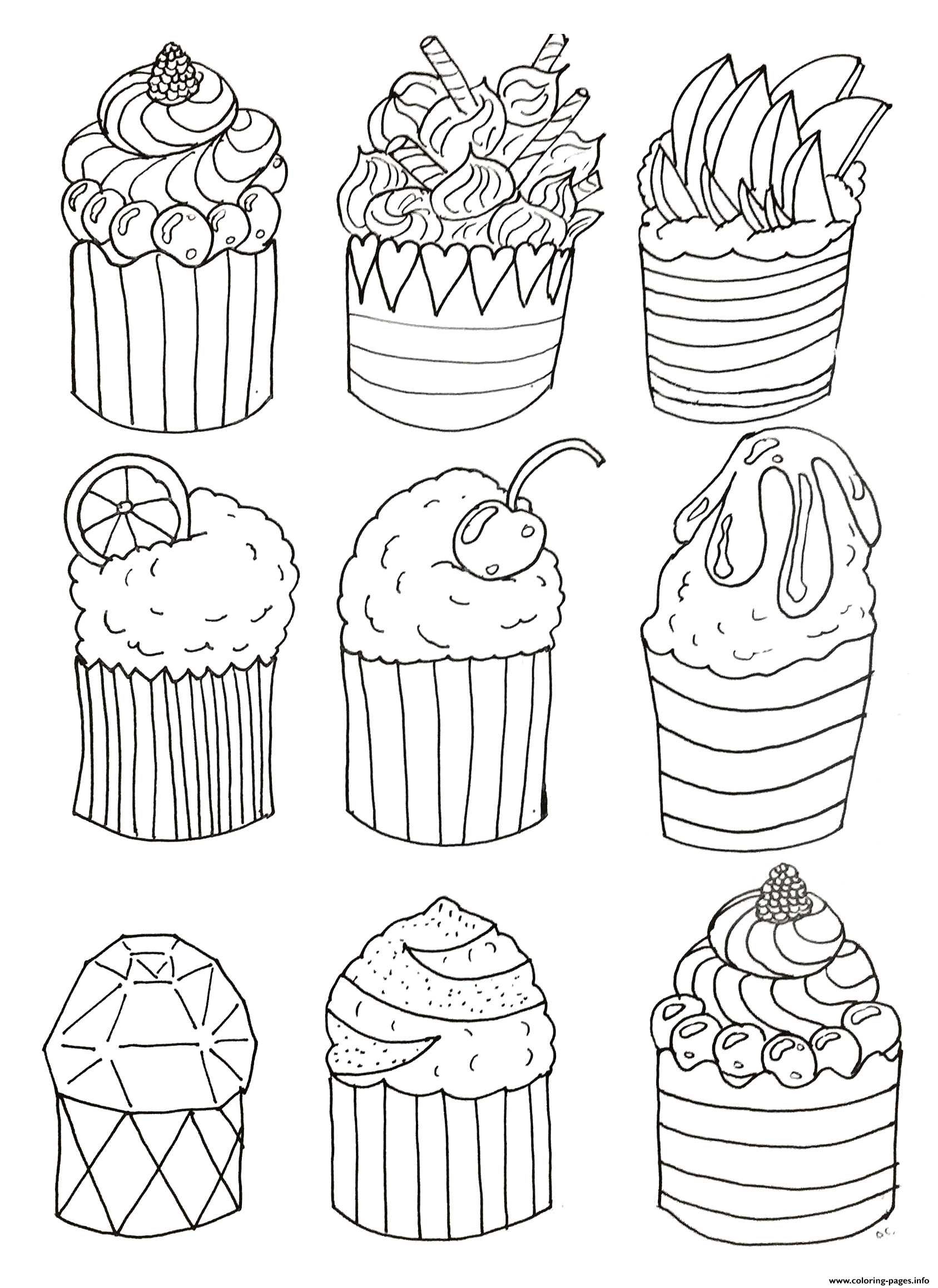 Print Simple Cupcakes By Olivier Coloring Pages Cupcake Coloring Pages Unicorn Coloring Pages Coloring Books