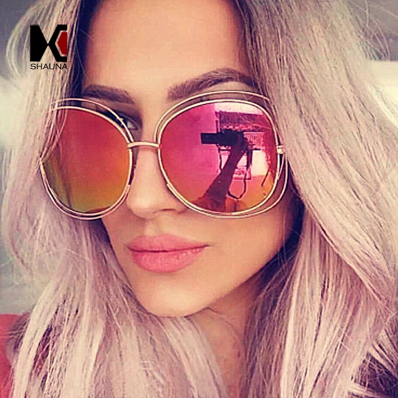 SHAUNA Mode Oversize Oval Draht Frauen Sonnenbrille Marke Designer ...