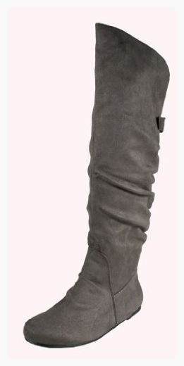 03b86b23634 By Soda Fashion Slouchy Knee-high Flat Boots with Ruched Back Design and  Buckle Adornment