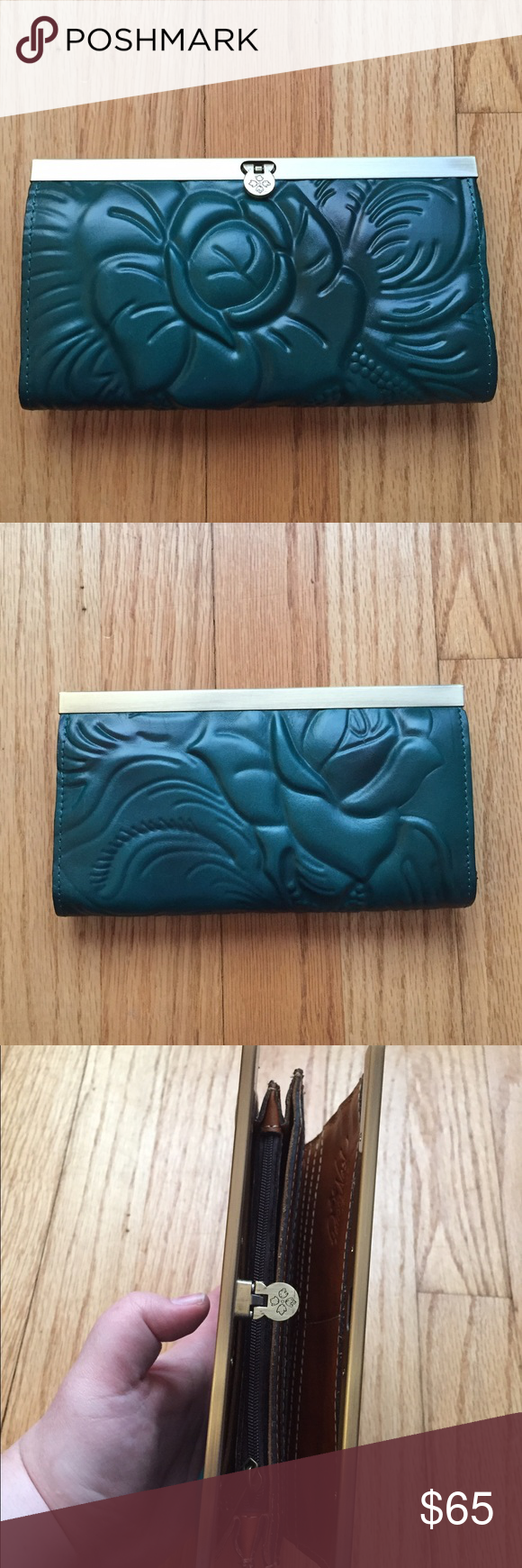 Patricia Nash Dark Teal Textured Wallet Excellent condition! There are some imperfections but they are very, very minor and they are pictured! This is such a unique wallet all around! The gorgeous teal/blue-green color and textured floral detail on this smooth leather are amazing! And the shape and closure will not be found in just any wallet! 10 card slots. 4 large pockets and 1 zipper pocket inside. Length: 7.5 inches. Height: 4.25 inches. Depth: 1 inch. No lowballs please! Patricia Nash…