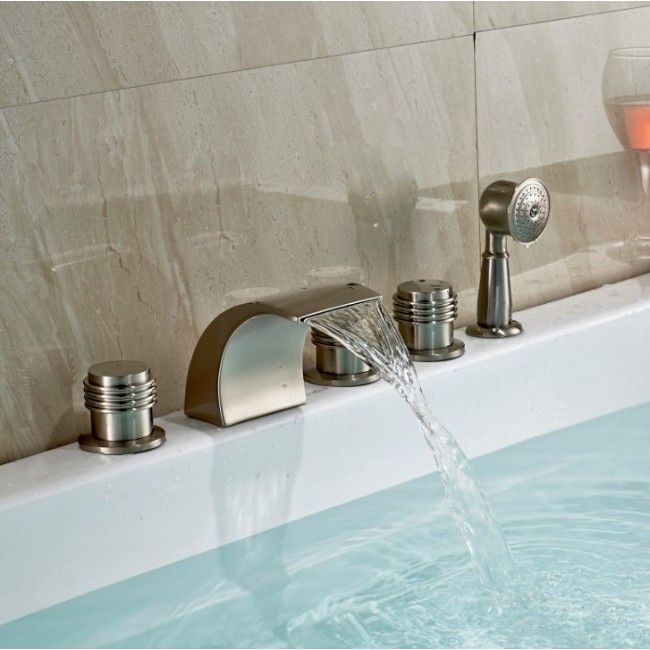 Color Changing LED Bathtub Faucet U0026 Tub Mixer Taps With Hand Shower Brushed  Nickel Deluxe 5 Pieces Sets