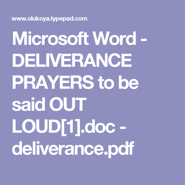 Microsoft Word - DELIVERANCE PRAYERS to be said OUT LOUD[1