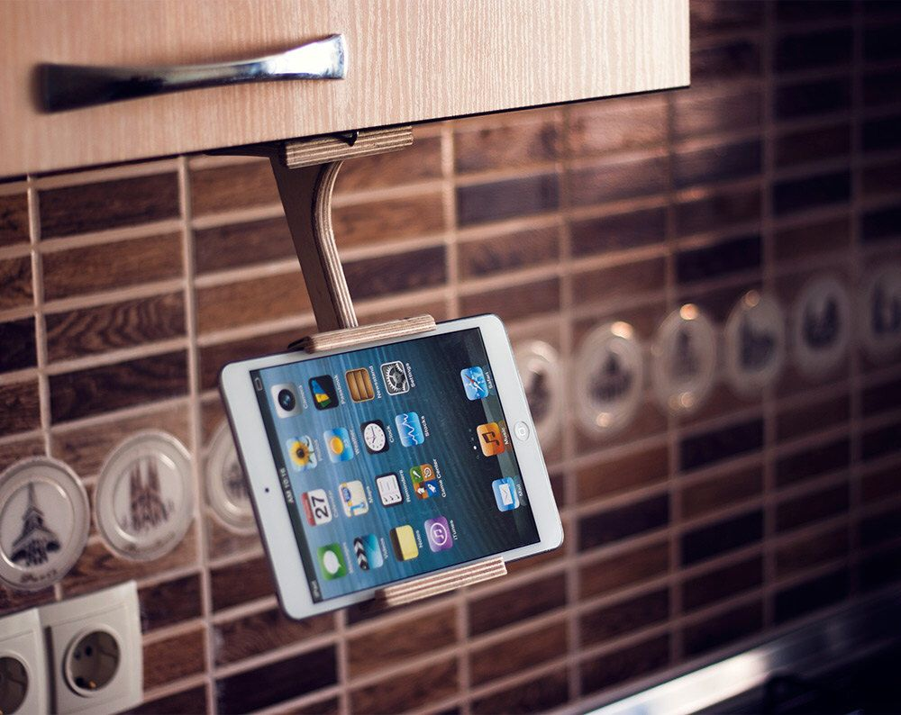 Kitchen tablet holder ipad stand kitchen tablet stand wood