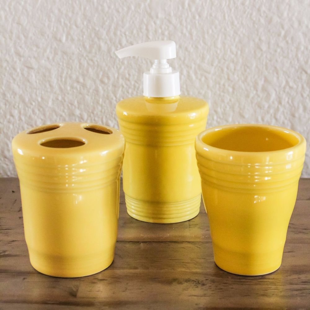 Fiesta® SUNFLOWER Lotion/Soap Dispenser, Toothbrush Holder & Tumbler made by Homer Laughlin China Company   The Enchanted Market, eBay