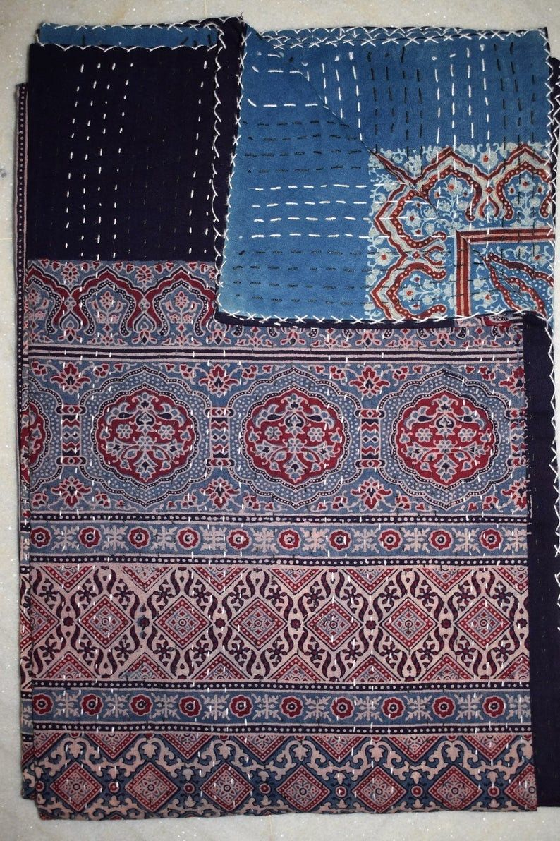 Pure Cotton Indian Blanket Throw Quilt Bedding Kantha Bed