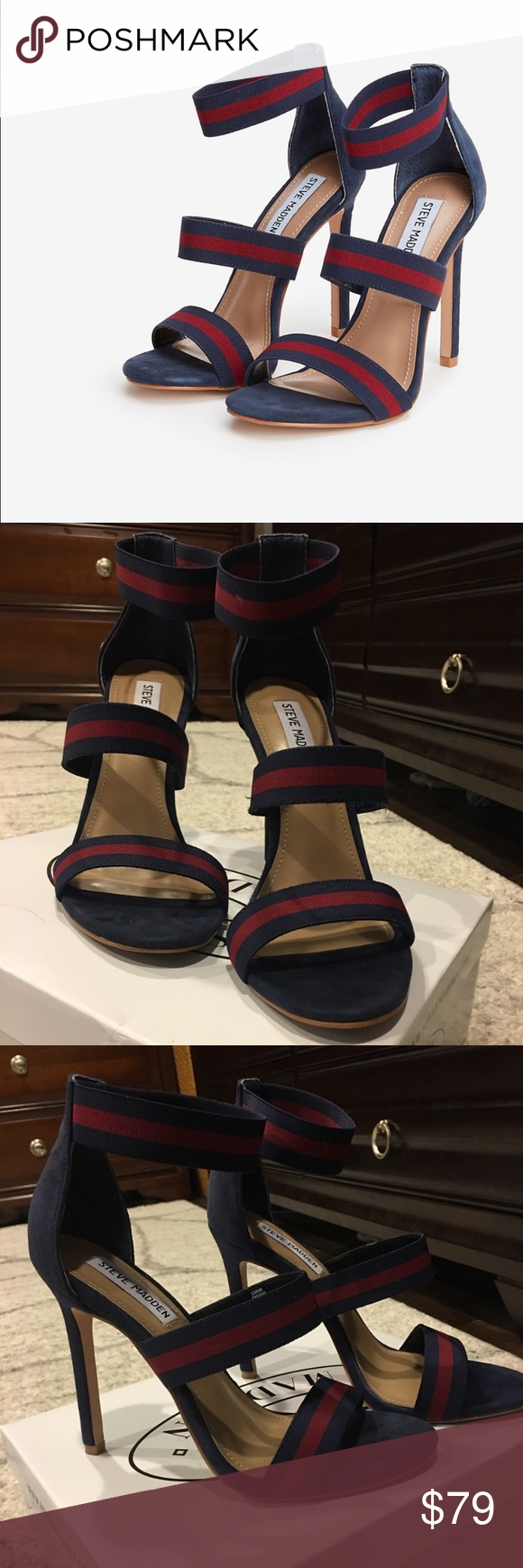 6e0dbede875 Steve Madden Carina Sandals Three wide straps tops off a sleek stiletto heel  for a comfortably chic dressy look in Steve Madden s Carina sandals.