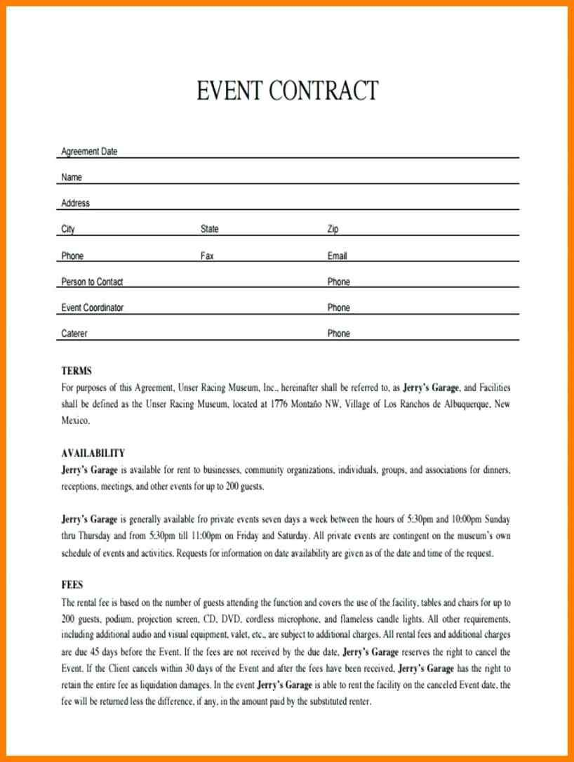 011 Plan Template Event Contract Sample Event Planning