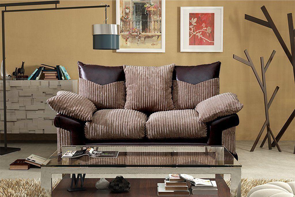 Grande Nuovo Dino Jumbo Cord Fabric Faux Leather Panel 3 Seater Sofa 2 Seater Brown Coffee 2 Seater Sofa Leather Sofa Sofa