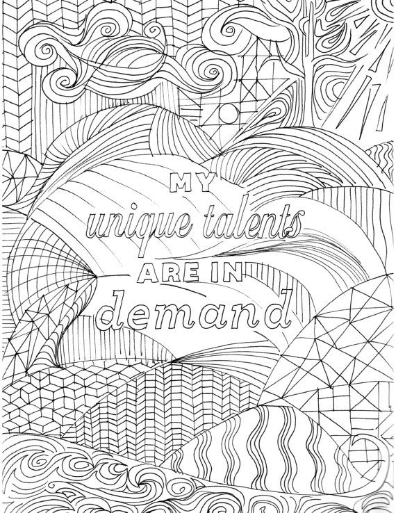 Positive Affirmation Coloring Page For Adults Inspirational Quote Book Hand Drawn Handmade Mantra Prosperity