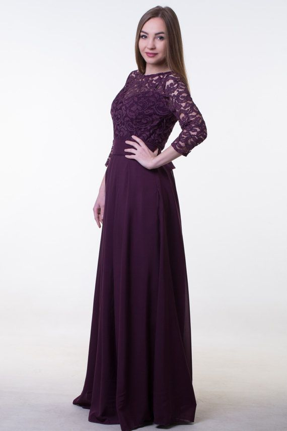 c30a49c63b0 Dark purple bridesmaid dress. Long lace and chiffon dress with sleeves.  Modest prom dress. Special o