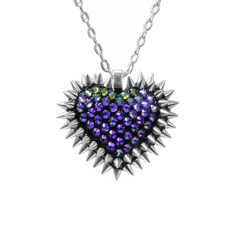 Mini Pavèd & Spiked Heart Necklace in Paradise