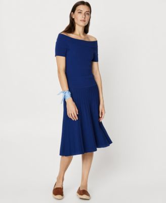 Lauren Ralph Pee Pleated Fit Flare Dress Blue P M