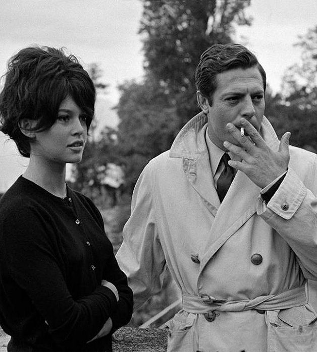 "Brigitte Bardot and Marcello Mastroianni on the set of ""Vie privée"" (1962, dir. Louis Malle)"