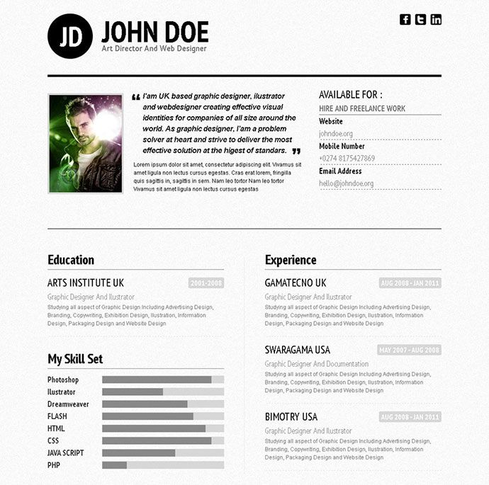 Professional Html Resume Templates  Graphic Design Resume