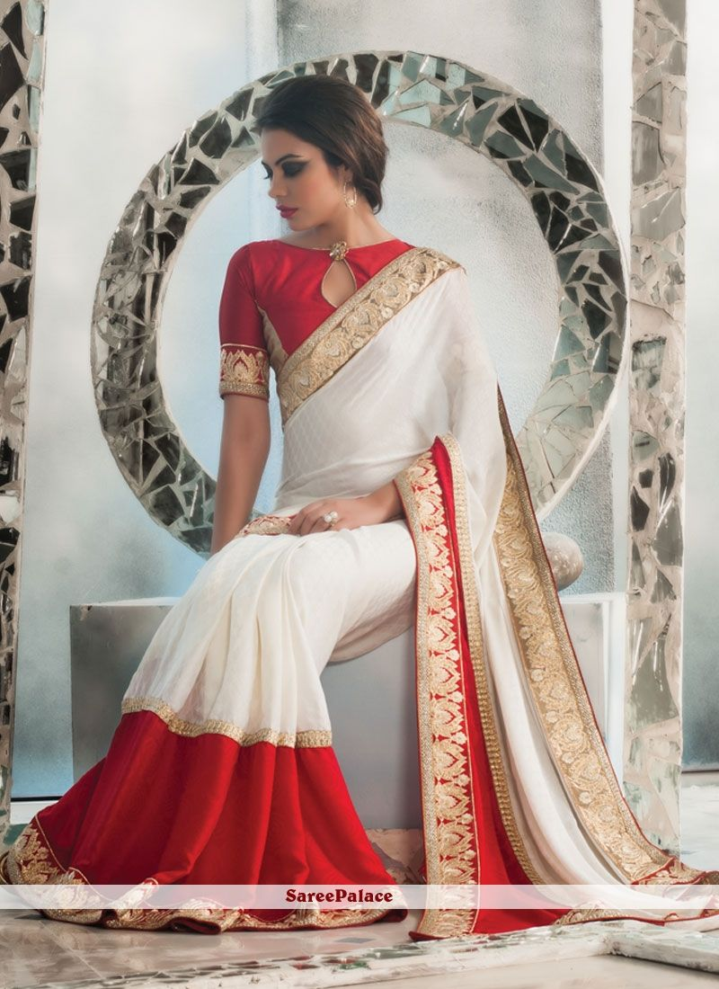 8c3dae4e1e Fantastic Crepe Jacquard Off White and Red Designer Saree | Designer ...