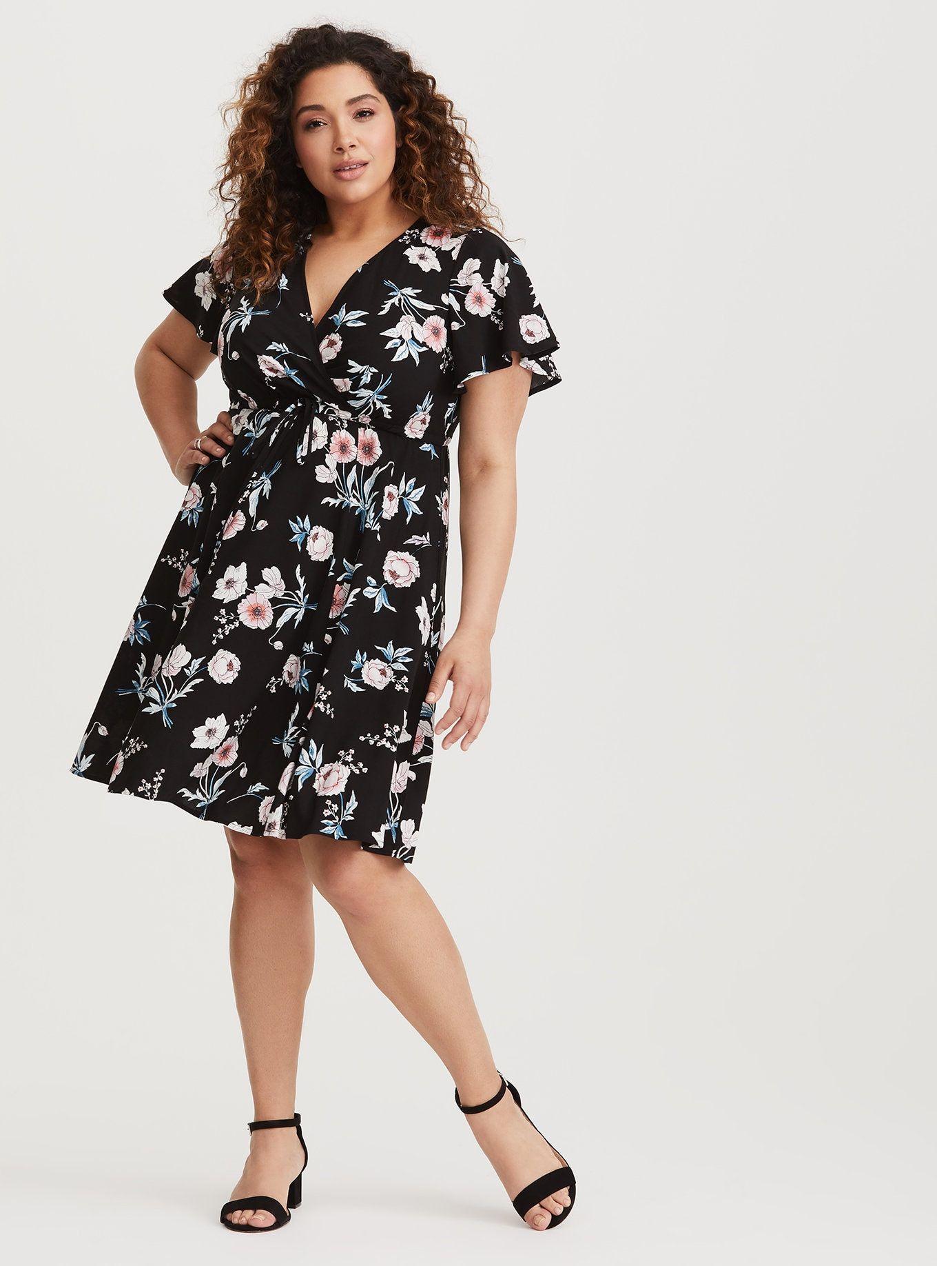 Black floral challis skater dress fit and flare cocktail