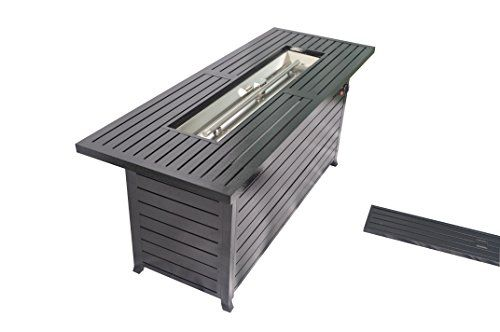 Legacy Heating CDFP S CB Retangular Fire Pit Table With Stainless Steel  Burner And Table Lid, Hammered Black