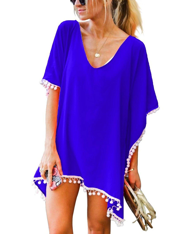 d1411e1930 Women's Clothing, Swimsuits & Cover Ups, Cover-Ups,Women's Beach Chiffon  Pom Pom Trim Swimwear Cover Up - Royal Blue - CF184A7Q4RW #Fashion # Swimsuits ...