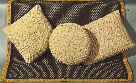 VCP475 three designs aran cushion vintage knitting pattern ...