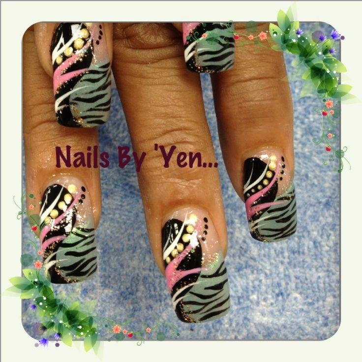 Pinyen34 Nails By Yen Hand Painted Nail Design Abstract Nail Art