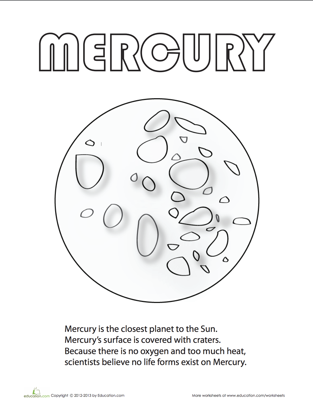 Mercury Coloring Page