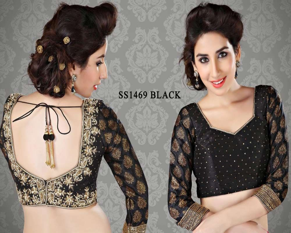 Beige golden brocade blouse blouse designs blouse designs for sarees - Black Brocade Fabric Saree Blouse Http Rajasthanispecial Com Index Php Blouse Patternsblouse