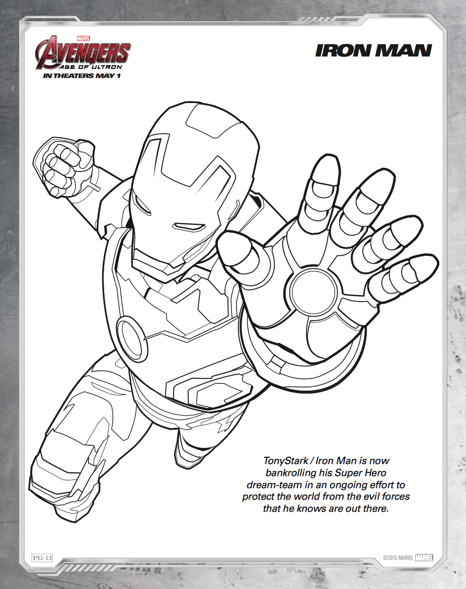 iron man coloring sheet avengers ultronpng 926 - Iron Man Coloring Pages Printable