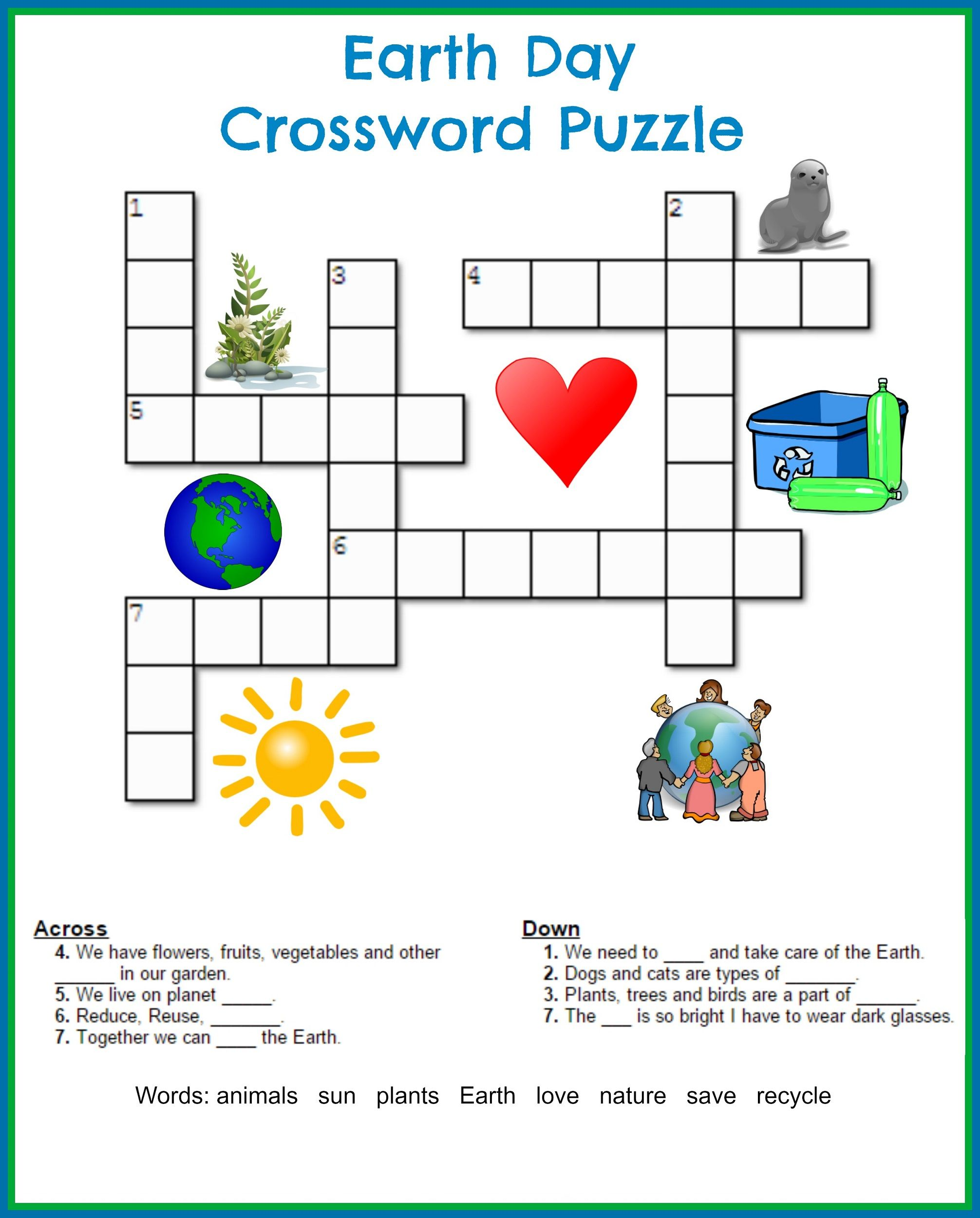 Easy Crossword Puzzle Worksheet