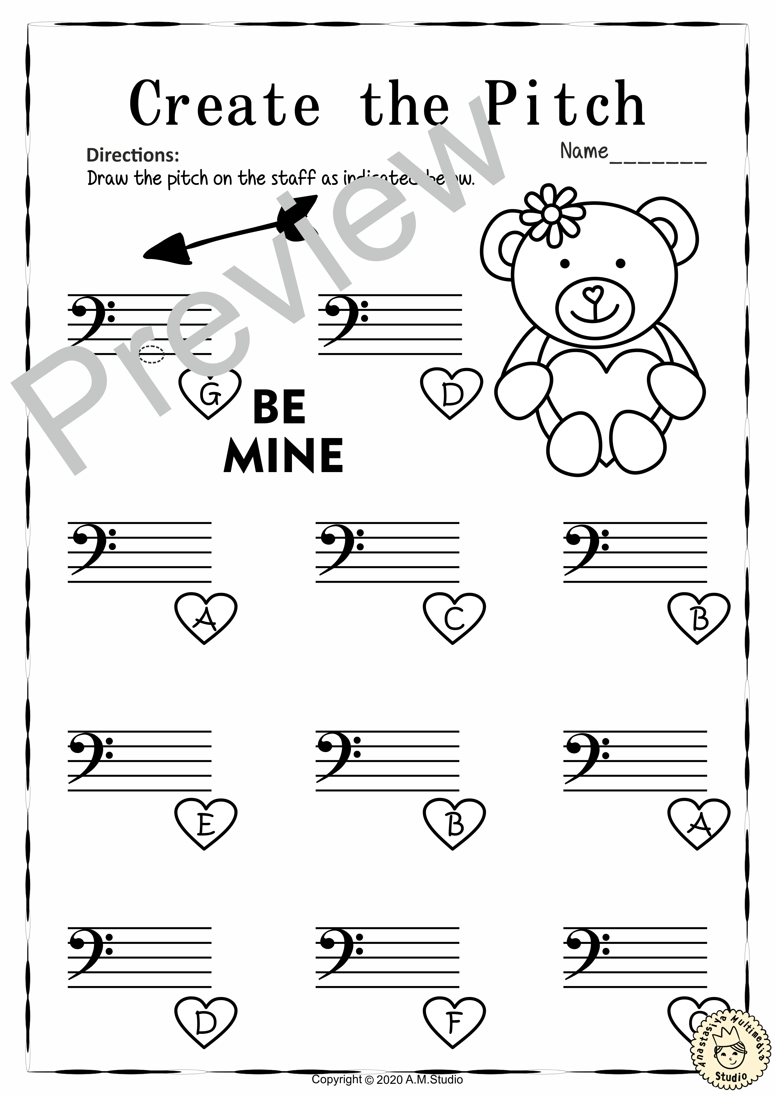 This Set Of 12 Music Worksheets Valentine S Day Themed Is Designed To Help Your Students Practice Identifying Music Worksheets Bass Clef Notes Music Education