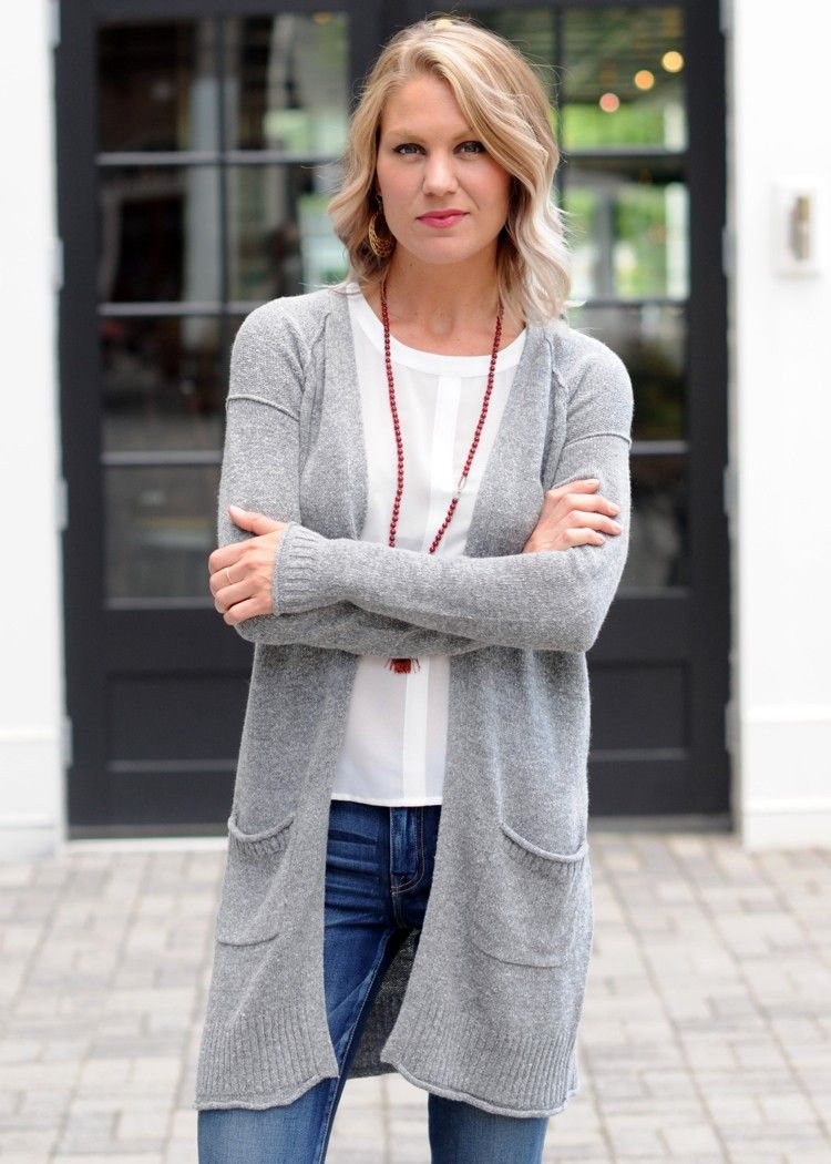 Gentle Fawn Paramore straight long cardigan, open front knit ...