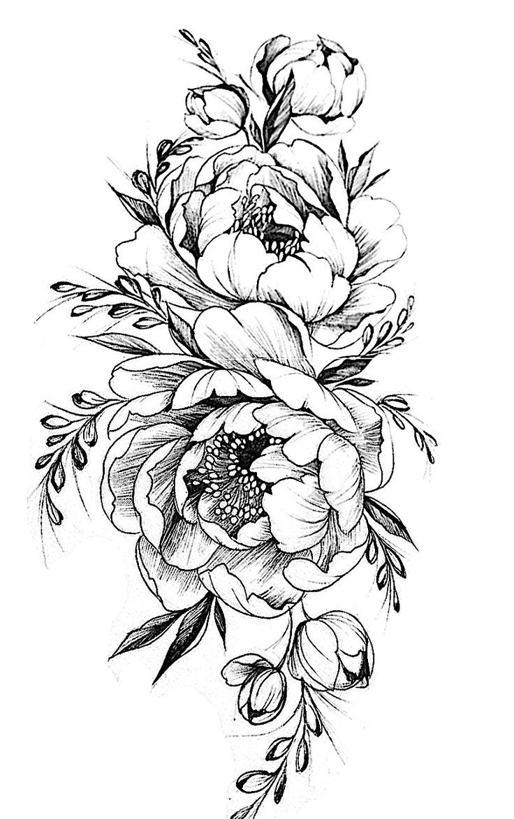 Image Result For Bird Peony Vintage Black White Delicate Flower Tattoo Tattoos Flower Drawing Design
