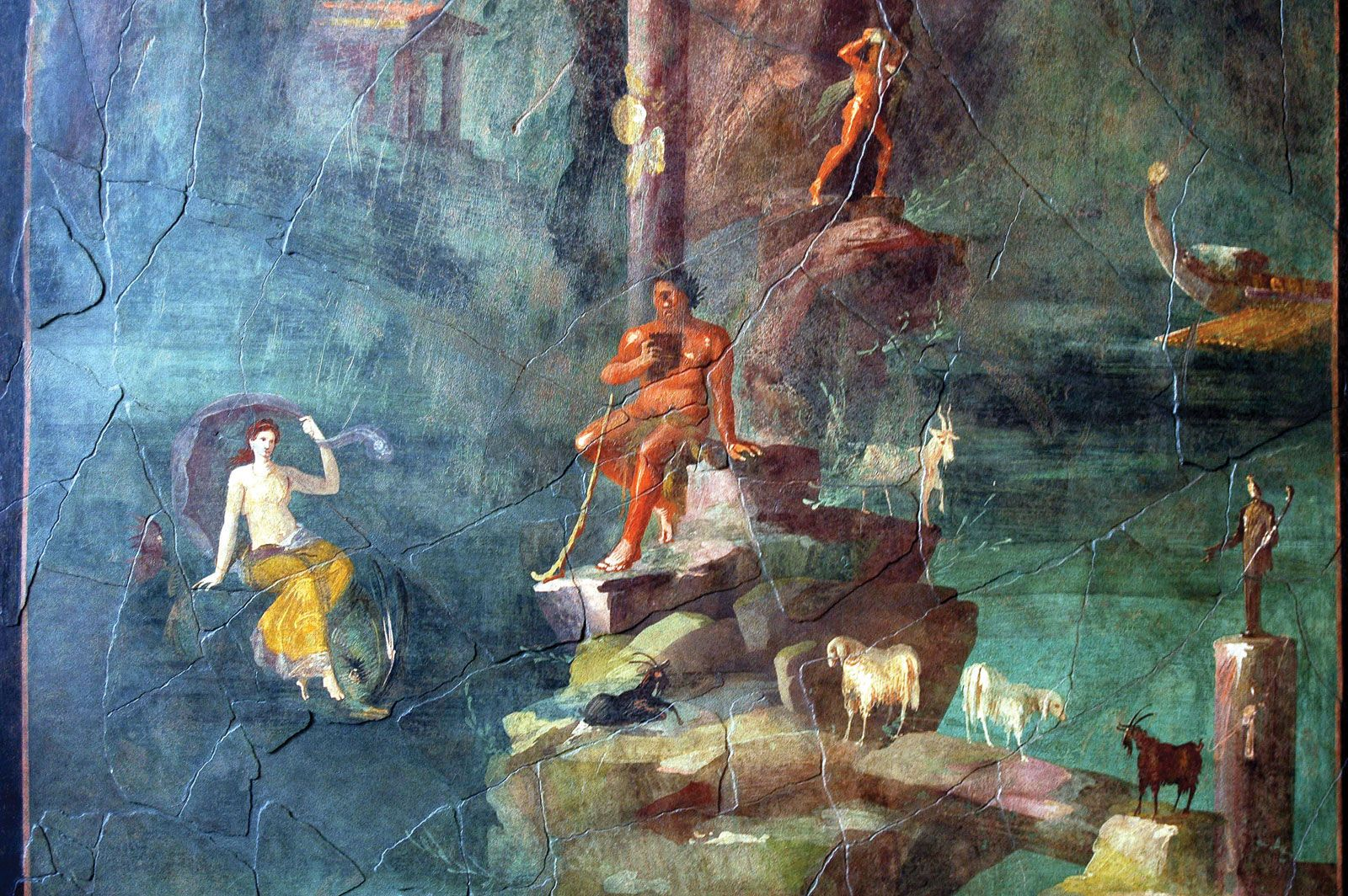 Polyphemus and Galatea in a landscape, Roman fresco from the imperial villa of Agrippa Postumus at Boscotrecase, Italy, last decade of the 1st century bce; in the Metropolitan Museum of Art, New York City.