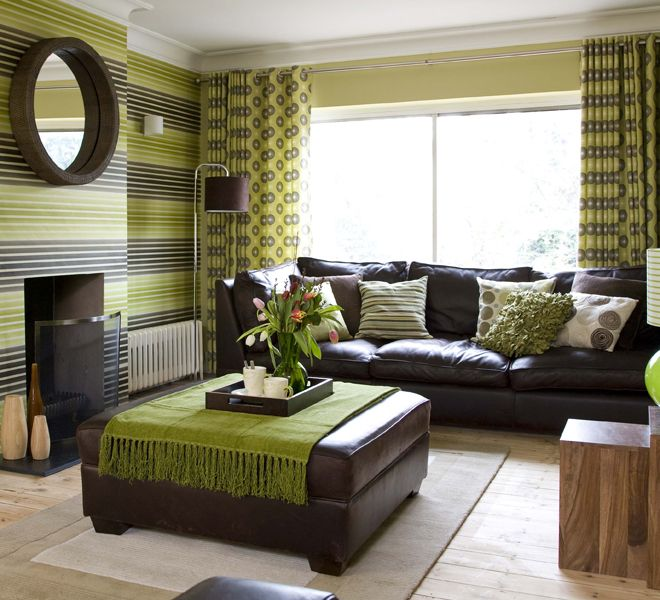 Green and brown colors for interior design google search for Apple green living room ideas