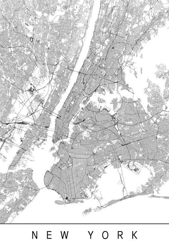 New York Map High Quality Giclee Print Minimalist Manhattan Art Print Customizable City Map Modern Map Art City Maps Map Of New York City Map Poster