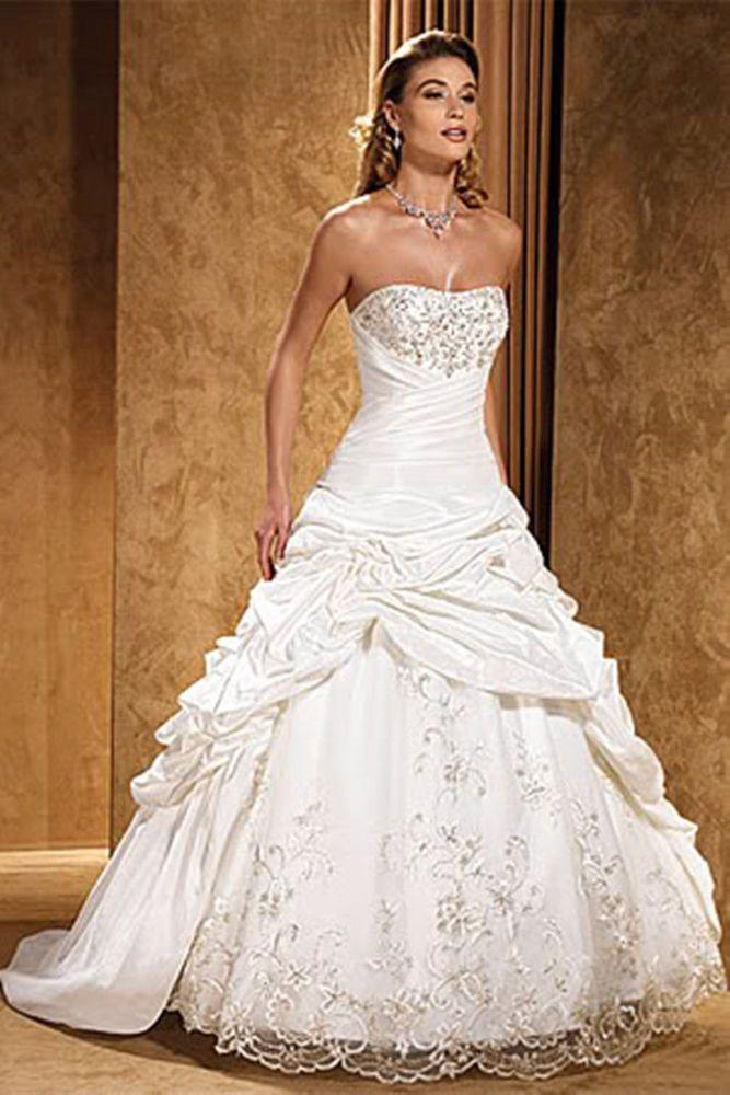 Strapless straight neckline white Ivory corset taffeta wedding dress ...