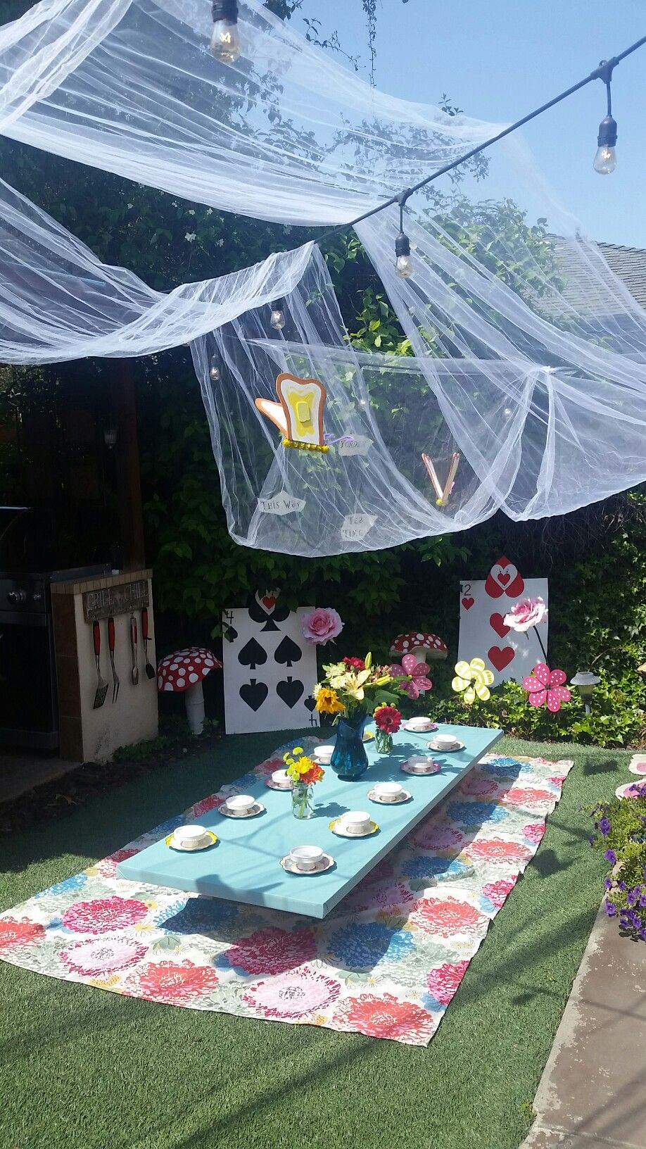 Outdoor Tea Party For Alice In Wonderland Birthday Party
