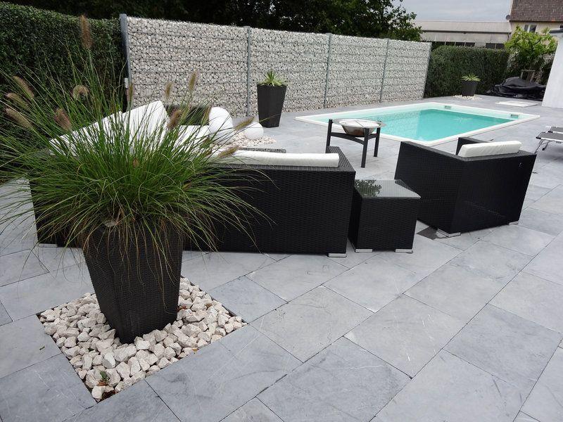 Moderne terrassengestaltung  Kalkstein-Platten Blaustein Azur | jonastone Natursteinvertrieb ...